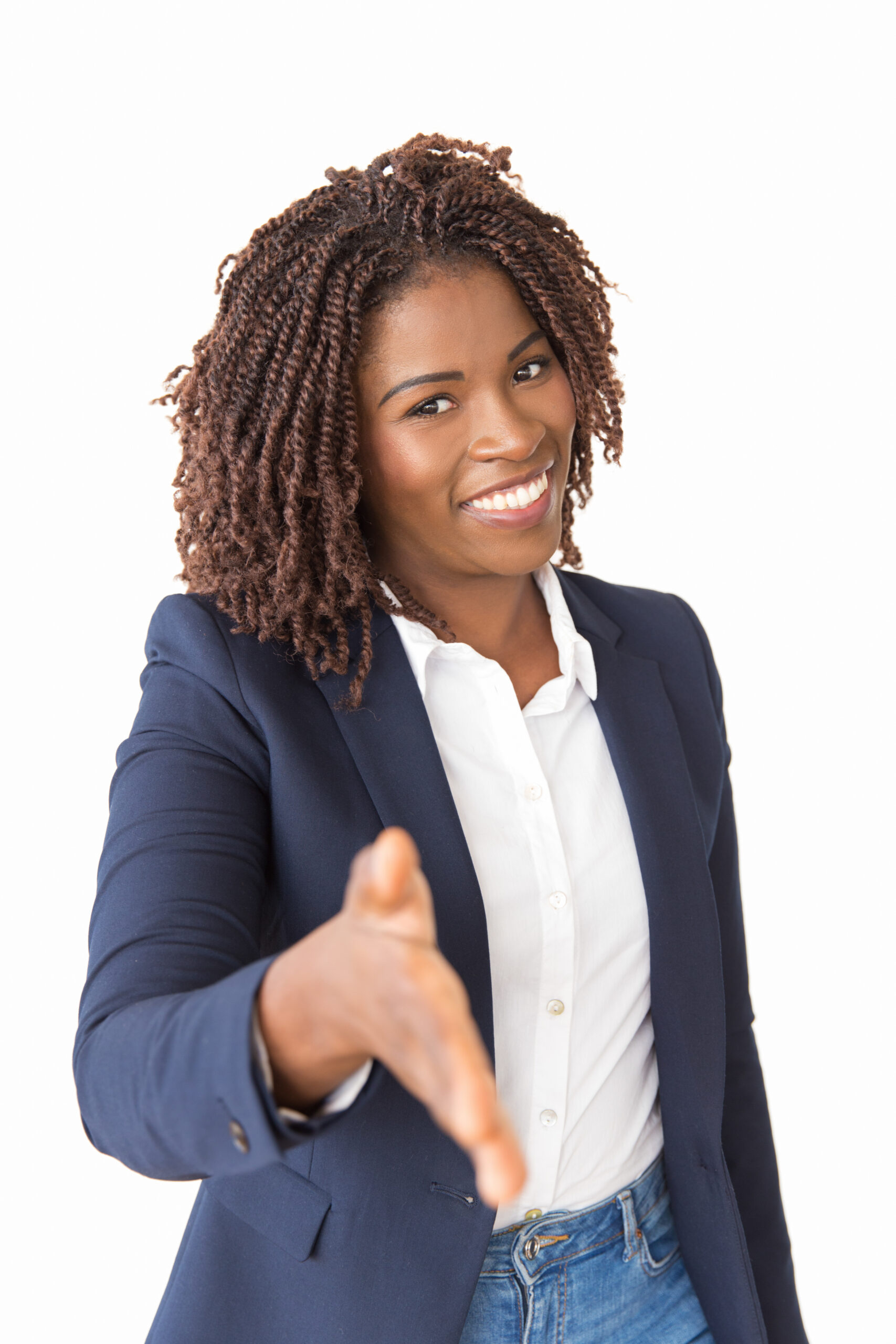 happy business professional woman offering handshake
